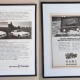 două reclame vintage LANDROVER - TRIUMPH, în rame format A3